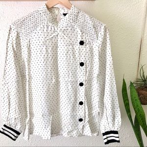 Zara oversized white black polka dot blouse